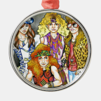 80er Hairband - 80er Retro Rundes Silberfarbenes Ornament