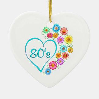 80er Herz-Blume Keramik Ornament
