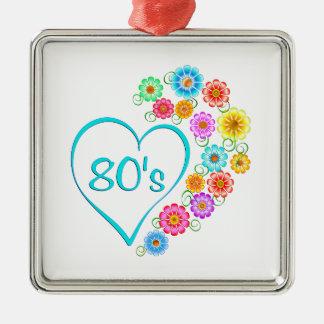 80er Herz-Blume Quadratisches Silberfarbenes Ornament