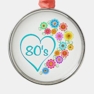 80er Herz-Blume Rundes Silberfarbenes Ornament