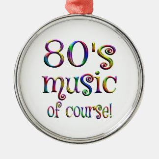 80er Musik von Couse Rundes Silberfarbenes Ornament