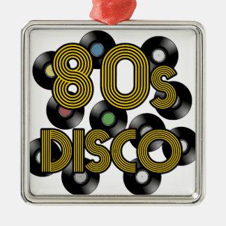 80erdisco-VinylPlatten Quadratisches Silberfarbenes Ornament