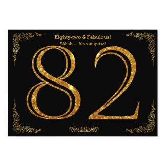 82. Geburtstags-Party, Gatsby styl, schwarzer 12,7 X 17,8 Cm Einladungskarte