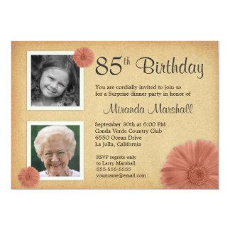 85th Foto des Geburtstags-Party-lädt rustikales 12,7 X 17,8 Cm Einladungskarte
