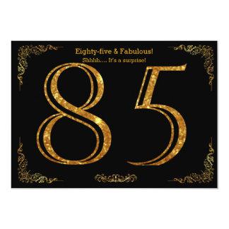 85th Geburtstags-Party, Gatsby styl, schwarzer 12,7 X 17,8 Cm Einladungskarte