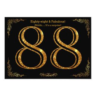 88. Geburtstags-Party, Gatsby styl, schwarzer 12,7 X 17,8 Cm Einladungskarte