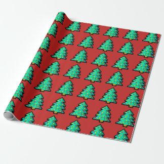 8 Bit grüner Weihnachtsbaum mit rotem Hintergrund Geschenkpapier