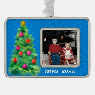 """""""8-Bitweihnachtsbaum-"""" Foto-Verzierung (blau) Rahmen-Ornament Silber"""