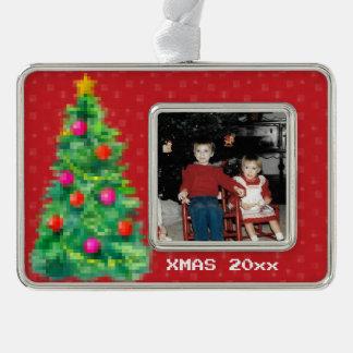"""""""8-Bitweihnachtsbaum-"""" Foto-Verzierung (rot) Rahmen-Ornament Silber"""