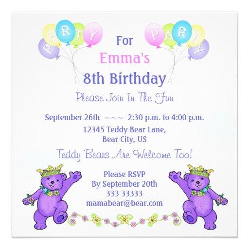 8. Geburtstags-Party-Prinzessin Bear Balloons Einladungskarte