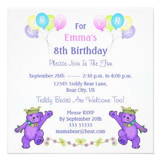 8 Geburtstags-Party-Prinzessin Bear Balloons Einladungskarte