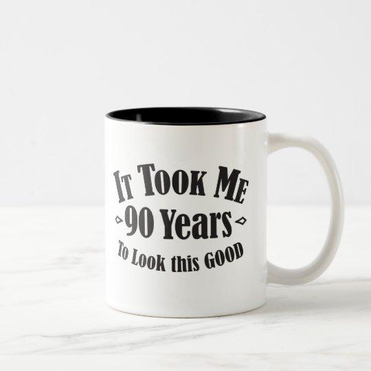 90. dauerte es mir neunzig 90 Jahre, um gutes Zweifarbige Tasse