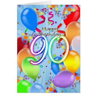 90. Geburtstag - Ballon-Geburtstags-Karte - Karte
