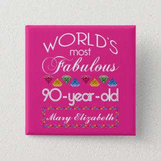 90. Geburtstag das meiste fabelhafte bunte Quadratischer Button 5,1 Cm