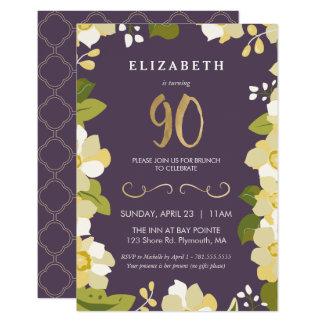90. Geburtstags-Einladung, fertigen Blumen mit Karte