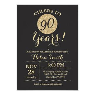 90. Geburtstags-Einladungs-Schwarzes und Karte