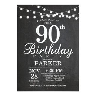 90. Geburtstags-Einladungs-Tafel-Schnur-Lichter Karte