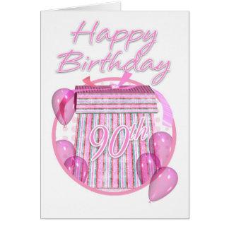 90. Geburtstags-Geschenkboxen - Rosa - alles Gute Karte