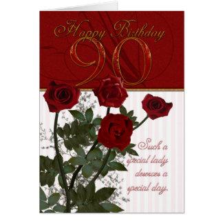 90. Geburtstags-Karte mit Rosen Karte
