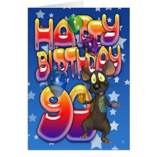 90. Geburtstags-Karte niedlich mit kleiner Maus Karte