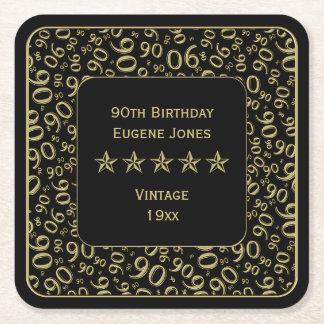 90. Geburtstags-Party-Gold/schwarzes Muster Rechteckiger Pappuntersetzer