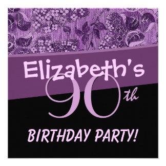 90 Geburtstags-Party-lila Vintage Blumen Ankündigungen