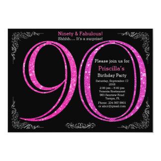 90., Geburtstags-Party, neunzig, Gatsby, schwarzes 12,7 X 17,8 Cm Einladungskarte