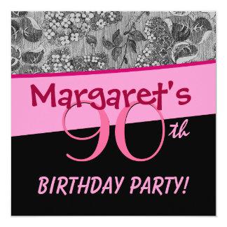 90. Geburtstags-Party-Rosa-Vintages Blumen-Silber Quadratische 13,3 Cm Einladungskarte