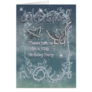 90. Geburtstags-Party - Schmetterlings-Einladung Karte
