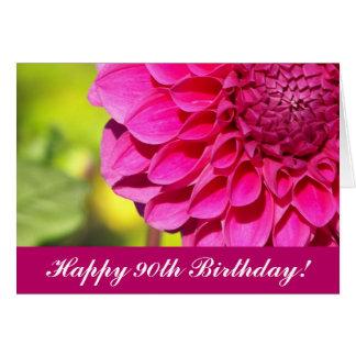 90. Geburtstags-rosa Dahlie-Blumengruß-Karte Grußkarte