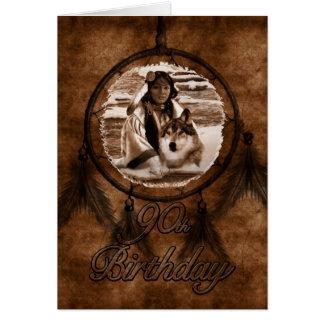 90. Geburtstags-Ureinwohner-Wolf Dreamcatcher Karte
