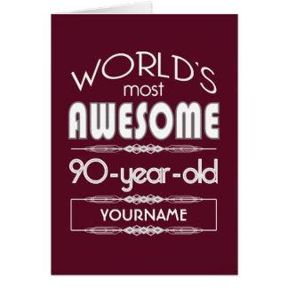 90. Geburtstags-Weltgut fabelhaftes dunkelrotes Karte