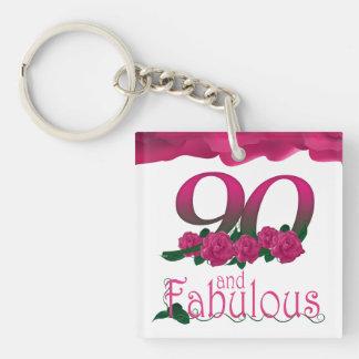 90. Rosa Blumen-Foto des Geburtstages Schlüsselanhänger