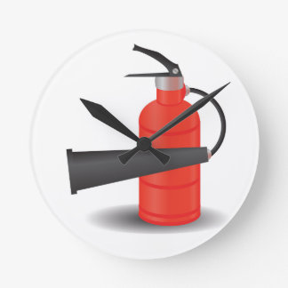 90Fire Extinguisher_rasterized Runde Wanduhr