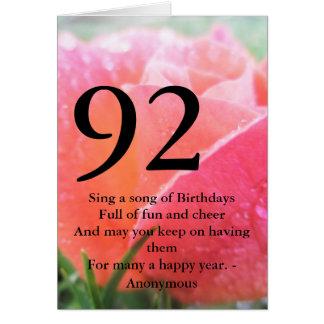 92. Geburtstag Karte