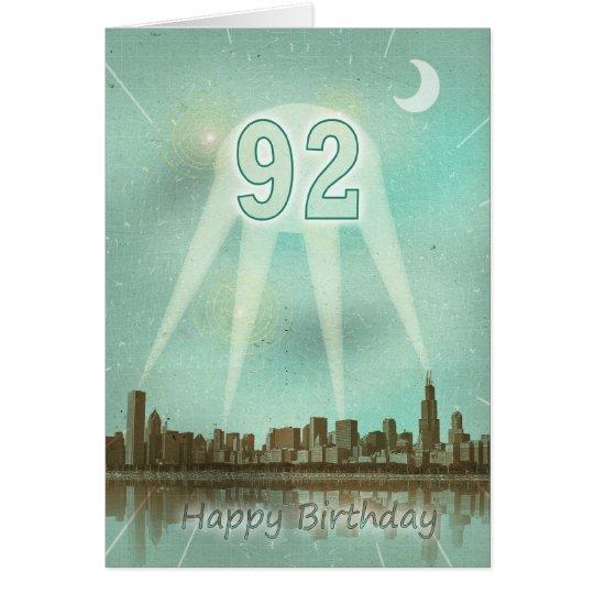 92. Geburtstagskarte mit einer Stadt und Grußkarte