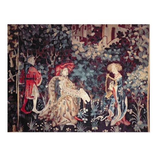 930 das Konzert, Tapisserie von Arras, 1420 Postkarten