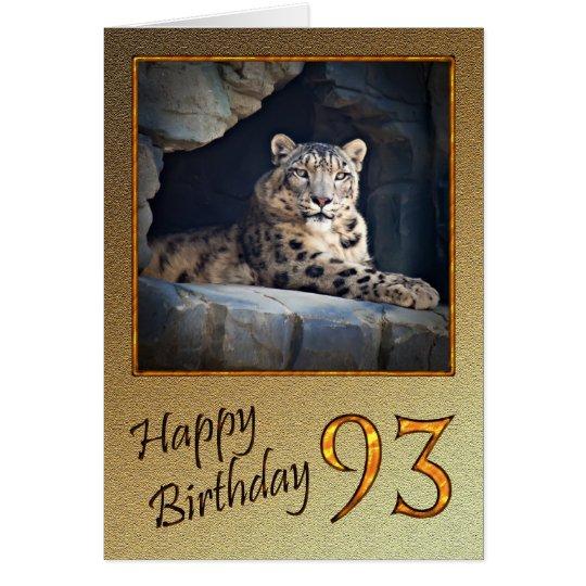 93. Geburtstags-Karte mit einem Schneeleoparden Karte