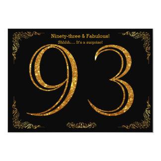 93. Geburtstags-Party, Gatsby styl, schwarzer 12,7 X 17,8 Cm Einladungskarte