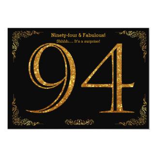 94. Geburtstags-Party, Gatsby styl, schwarzer 12,7 X 17,8 Cm Einladungskarte
