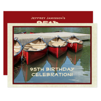 95. Geburtstags-Feier-Einladung, rote Kanus Karte