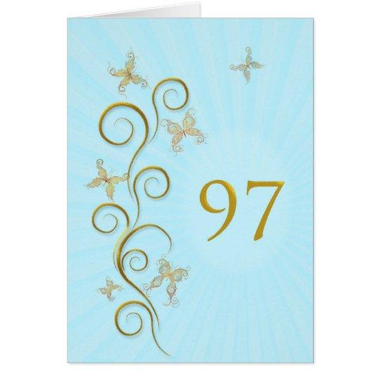 97. Geburtstag mit goldenen Schmetterlingen Grußkarte