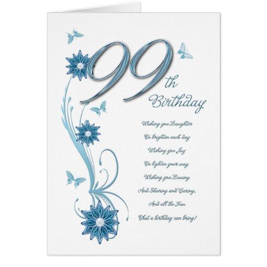 99. Geburtstag in aquamarinem mit Blumen Grußkarte