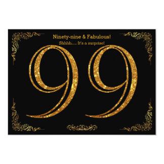 99. Geburtstags-Party, großes Gatsby, schwarzes 12,7 X 17,8 Cm Einladungskarte