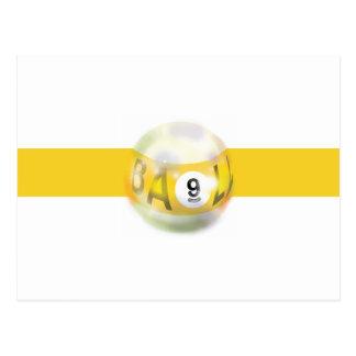 9 Ball-gelber Streifen Postkarte