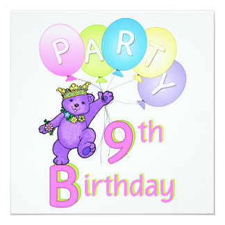 9. Geburtstags-Party-Prinzessin Bear Balloons Individuelle Einladung
