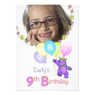 9. Geburtstags-Party-Prinzessin Bear Custom Foto Ankündigungskarten