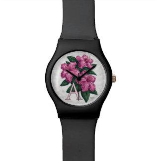 A für Azaleen-Blumen-Monogramm-Kunst Armbanduhr