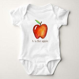 A ist für Appleroter-deliciousfrucht ABCs Alphabet Baby Strampler