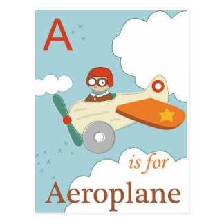 A ist für Flugzeug Postkarte